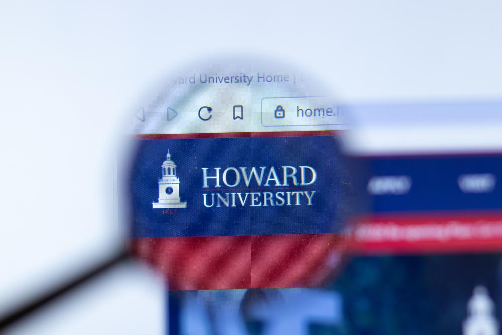 Howard University website with logo