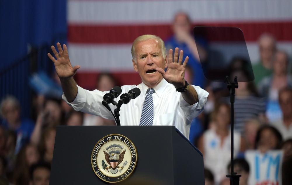 US President Joe Biden during a rally