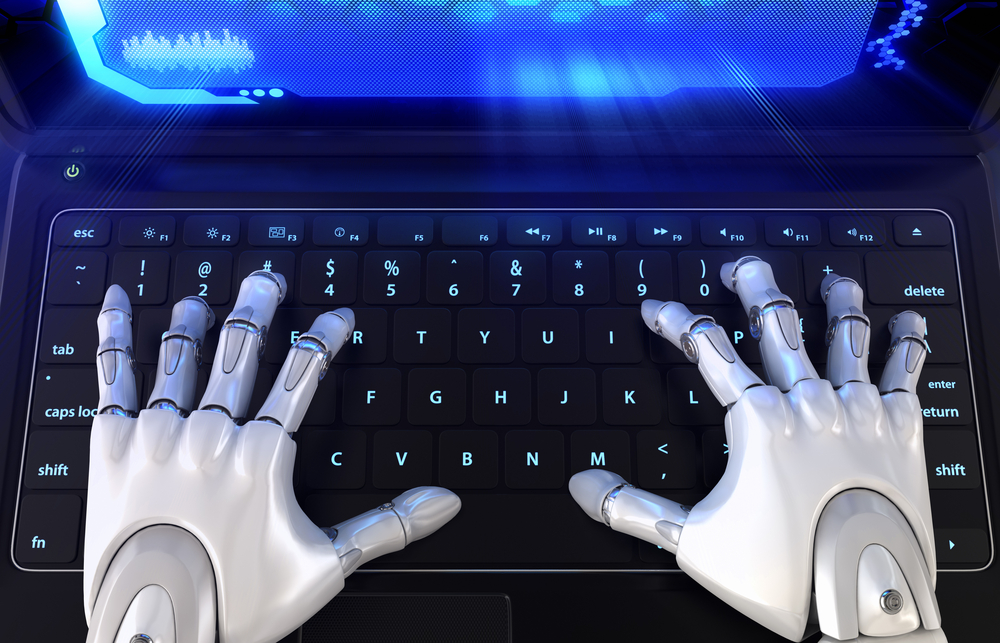 A robot's hands typing on keyboard