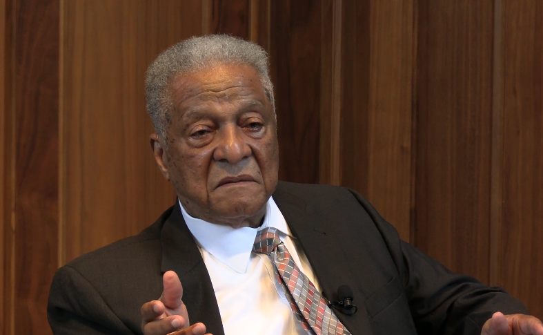 Dr. Marion Hood speaking at Emory University 62 years after the school rejected him because of his race.