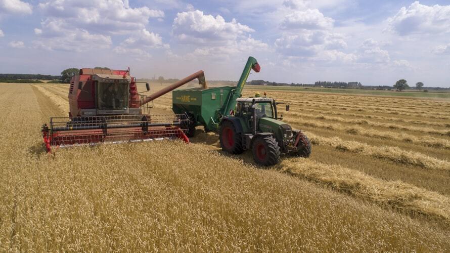 Two cultivators in a field