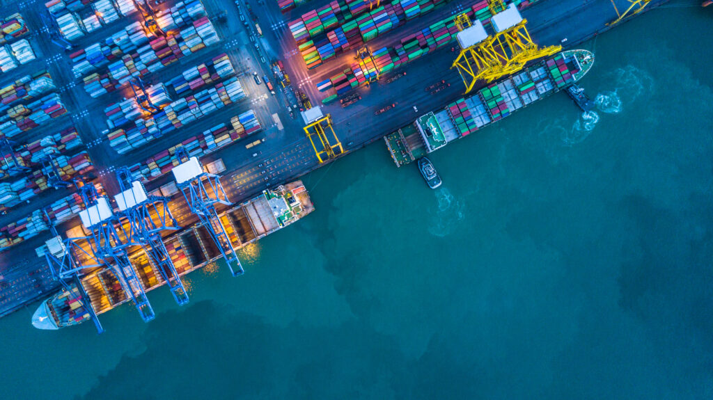 aerial-view-of-container-and-cargo-ships